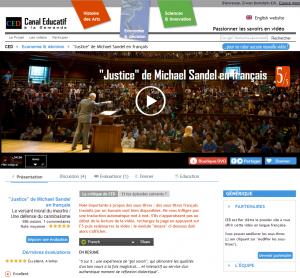 Capture 1 : page vidéo du cours de Michael Sandel